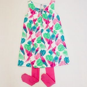 Gap Colorful Tropical Birds Leaves Pull On  Dress